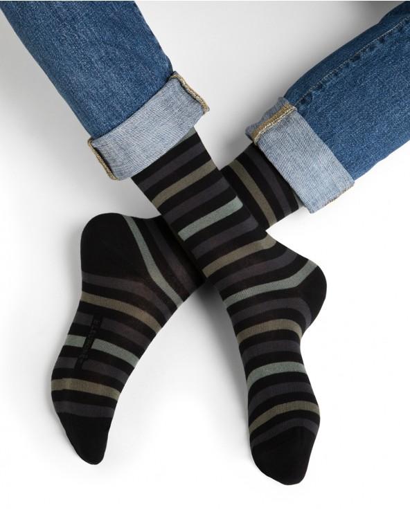 Veelkleurig gestreepte sokken katoen