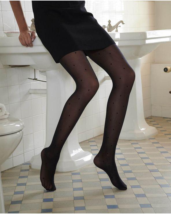 Semi-ondoorzichtige panty met 30D polka dot patroon